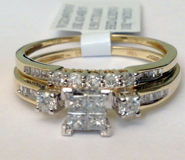 10k Yellow Gold Quad Princs Cut Round Diamond Engagement Bridal Set Wedding Ring