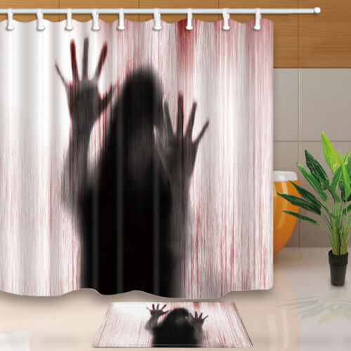Horror woman Waterproof Polyester-Fabric Shower Curtain /& Bath Mat 71*71inch new