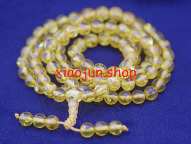 Rare!108pcs 8MM Amber  Buddhist Prayer Bead Mala Necklace Bracelet Beads