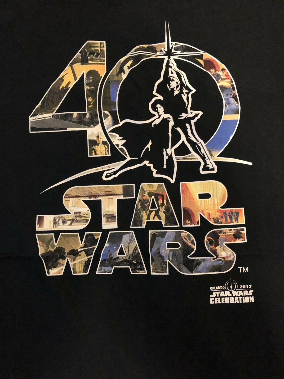 STAR WARS CELEBRATION 2017 40TH MCQUARRIE T-SHIRT TEE L LARGE BRAND NEW