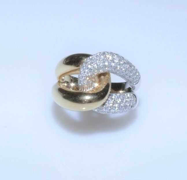 Doubledknot with  White  Diamonds 1.25 Tcw.   Lady's ring in 14k Two Tone gold.