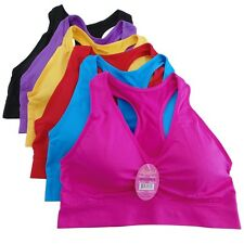 6 Women's Sports Bra Racerback Colorful Padded Stretch One Size Lot