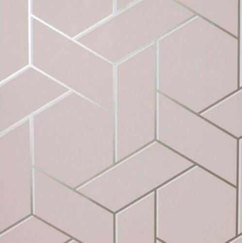 Arthouse Parquet Geometric Abstract Dusky Pink Rose Gold Metallic Wallpaper