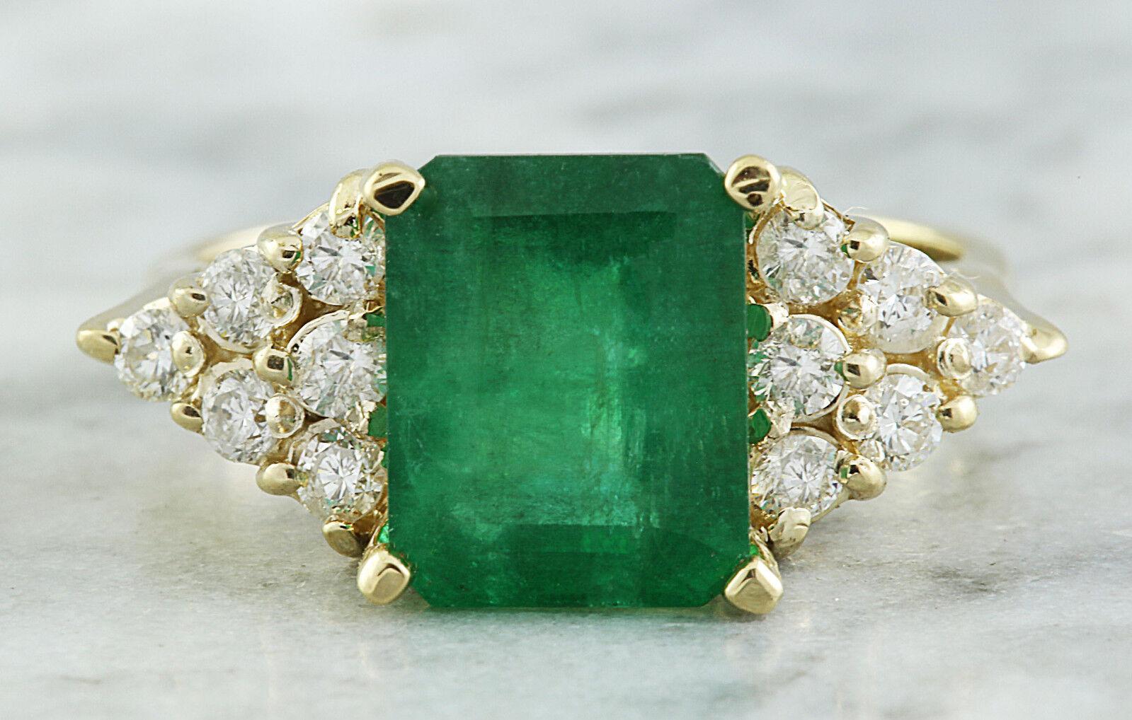 3.32 Carat Genuine Emerald 14K Solid Yellow gold Diamond Ring