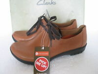 Clarks Ladies Un Rustle Tan Leather Lace Up Shoes Size Uk 3,3.5,4,4.5,5,6.5,9 D