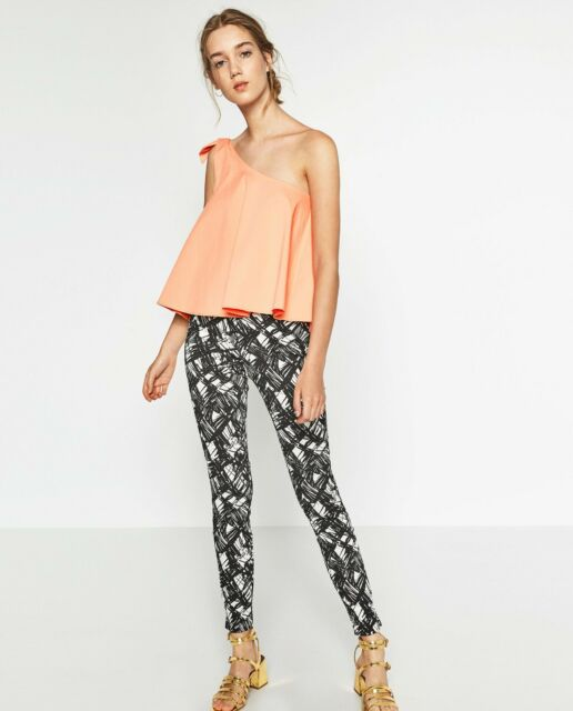 ZARA ASYMMETRIC TOP WITH BOW PEACH/CORAL REF 8342 011 649 SIZE SMALL LAST ONE !!