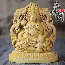 Old Collectibles Decorated Handwork Boxwood Carving Dragon Kuan-yin Statue