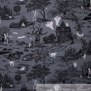 8e2edcc7f60 Details about BonEful Fabric FQ Cotton Quilt Gray Black White B W Halloween  Toile Cat Bat Tree