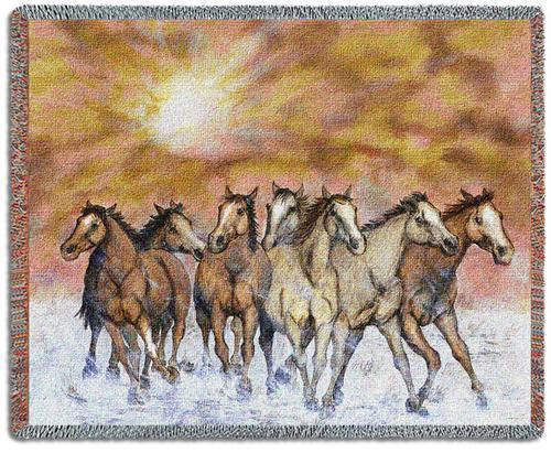 70x54 HORSE Sunset Run Western Southwest Tapestry Throw Blanket