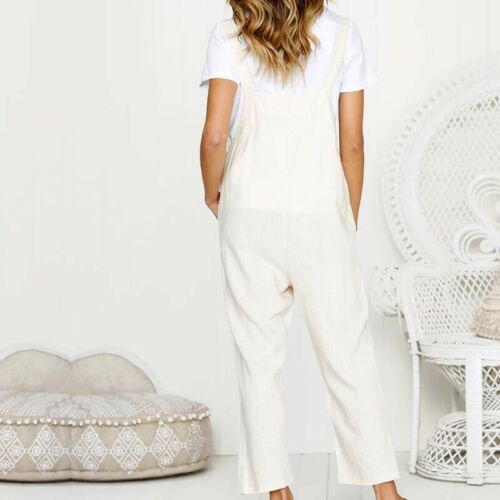 Women/'s Casual Loose Overall Dungarees Pocket Plain Wide Legs Trousers Jumpsuit