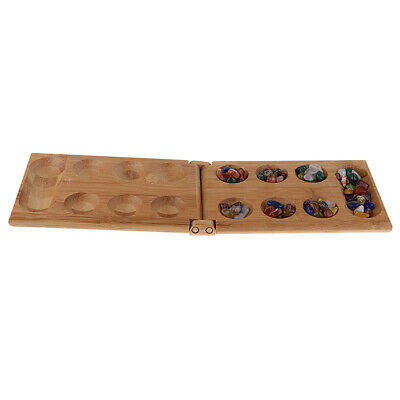Multi Color Agate Beads Mancala Strategy Game Set w// Folding Bamboo Board