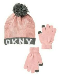 4aa046f05 Details about DKNY Pink Logo Beanie & Tech Gloves Big Girls ~ One Size ~NEW  MSRP $36