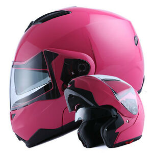 NEW-1Storm-DOT-Motorcycle-Bike-Modular-Flip-up-Full-Face-Helmet-Dual-Visor-Pink