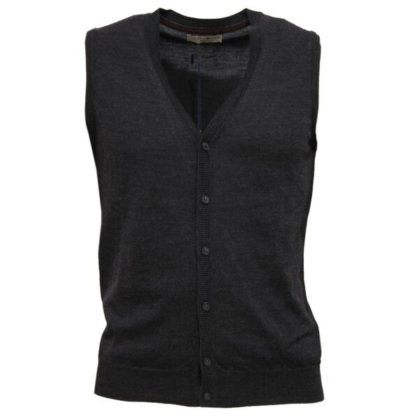 0565z Gilet Uomo Touch Back Mix Wool Dark Grey Waistcoat Man