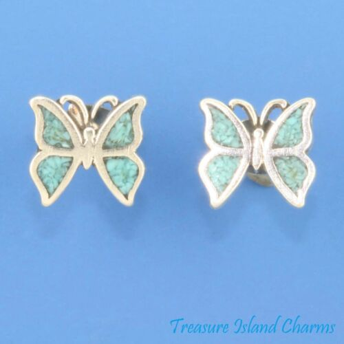 Papillon Avec Bleu Turquoise Inlay 925 Solid Sterling Silver Stud Post Earrings