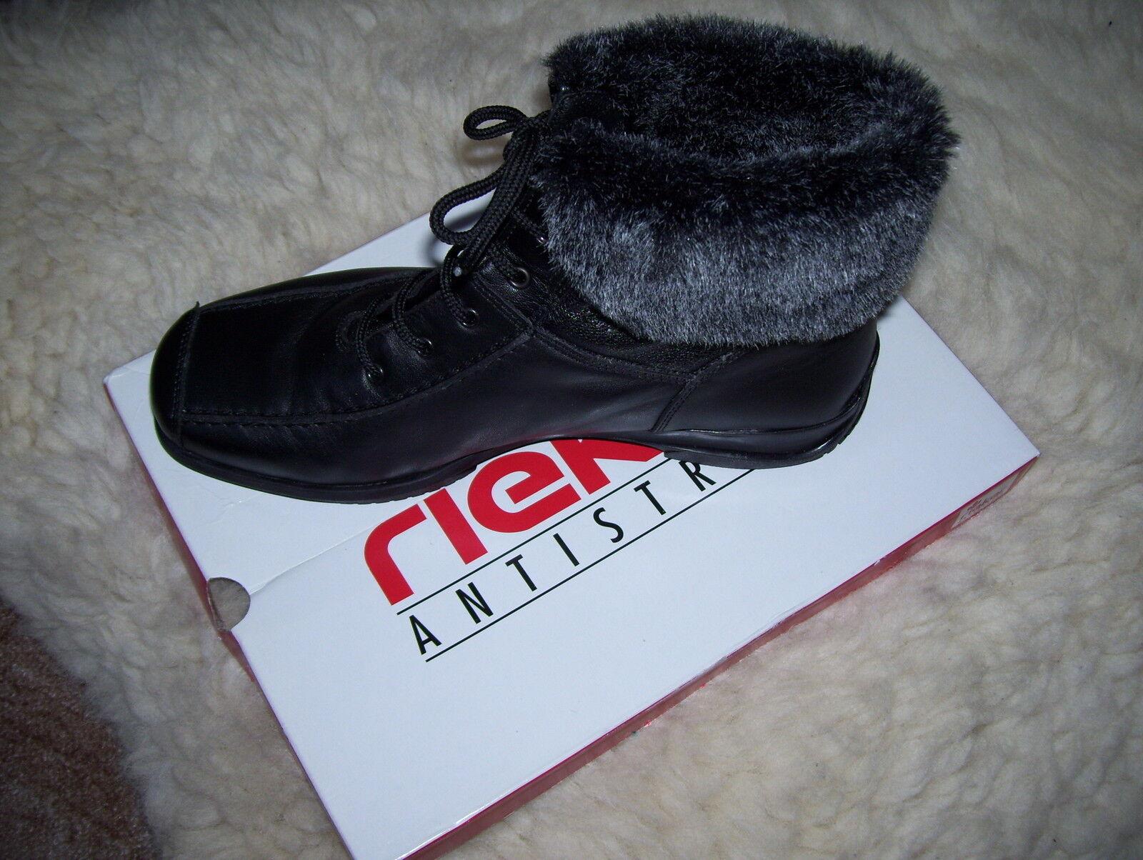 Rieker -Schwarz - Stiefel - Boots -Schwarz Rieker  Gr 40 (Damen) - Neu - Echt Leder - Lesen e6186e
