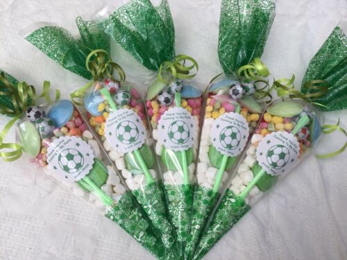 24 X Green Football Themed Pre Filled Party Cones Personalised+Free Sweety Bag