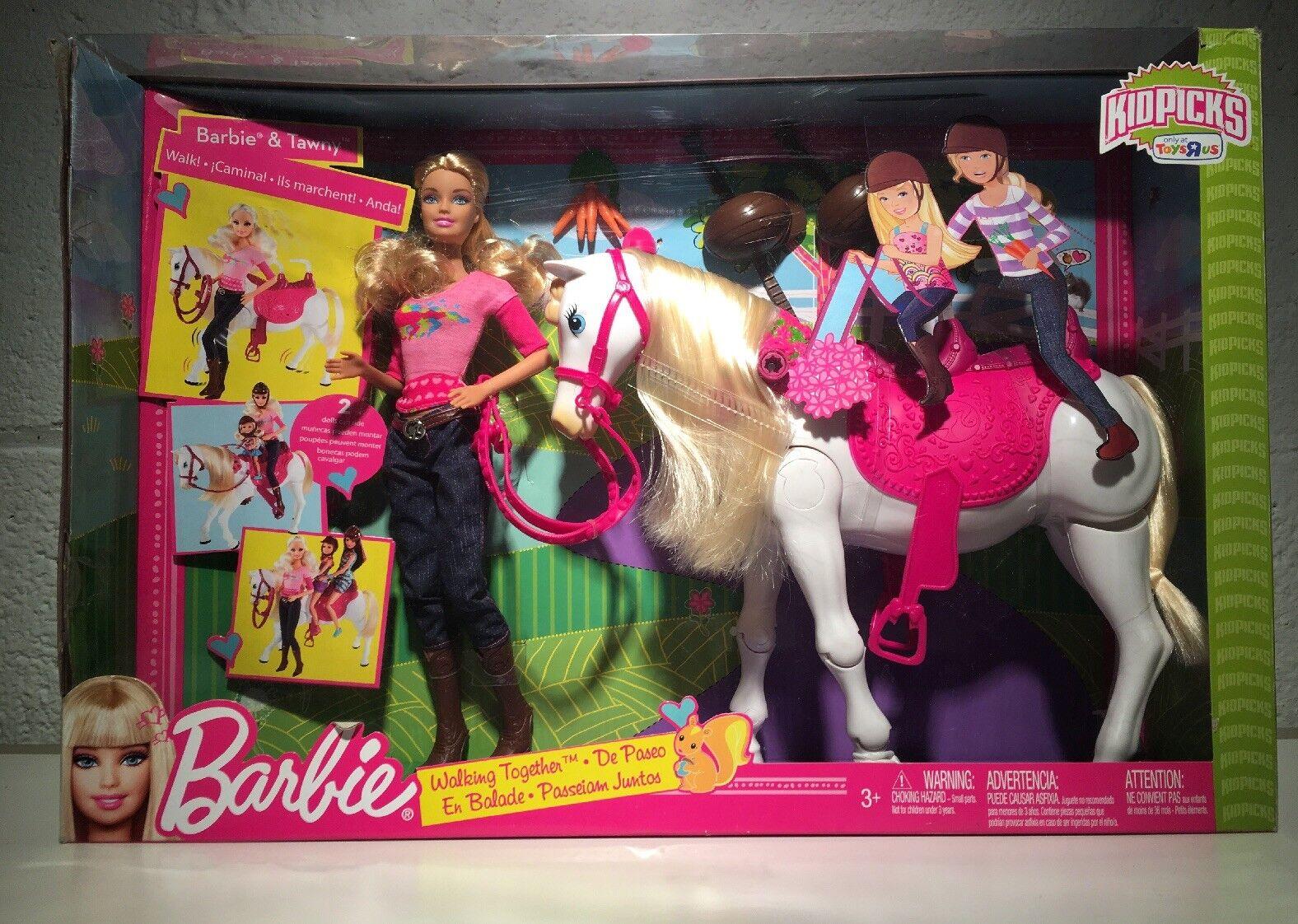 Barbie Y Tawny  caminar juntos  Juego de Muñeca Y Caballo