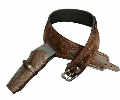 Size 38 40 42 Tooled Leather Belt w 22 Caliber Holster Scabbard Western Hunting