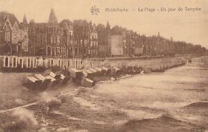 VINTAGE-SEPIA-POSTCARD-MIDDELKERKE-BELGIUM-LA-PLAGE-UN-JOUR-DE-TEMPETE