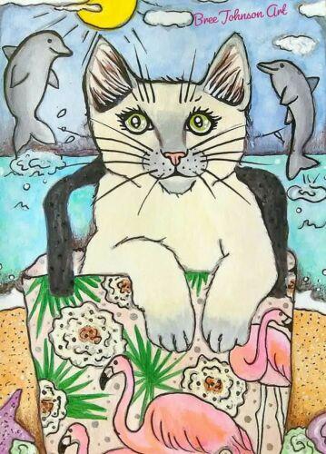 ARTWORK PRINT 5x7 cat summer beach dolphin flamingo watercolor fun Bree Johnson