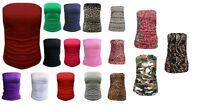 H7AB Womens Ladies Boobtube Bandeau Strapless Ruched Vest top UK Sizes S/M M/l