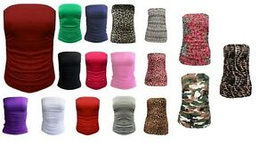 H7AB-Womens-Ladies-Boobtube-Bandeau-Strapless-Ruched-Vest-top-UK-Sizes-S-M-M-l