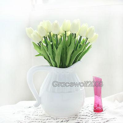 Real Latex Artificial Tulip Flower Bouquet Wedding Home Decor Multicolour 6-12pc