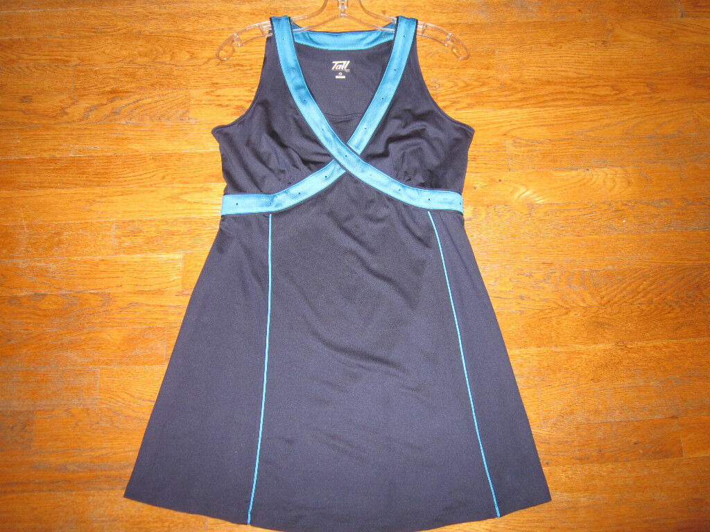 EXQUISITE TENNIS DRESS BY TAIL ROYAL blueE WITH TURQUOISE CRYSTALS M MEDIUM MUSTC