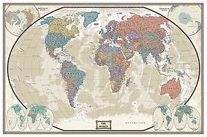Swiftmaps world wall map modern day as antique edition ebay for Amazon world map mural