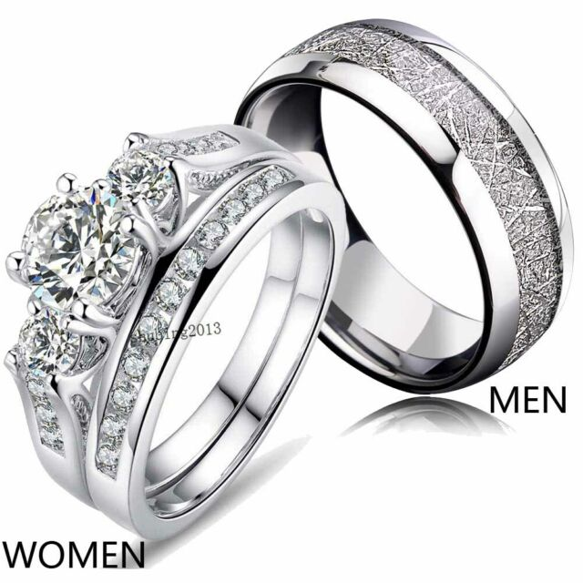 Castal Jewelry 8mm Stainless Steel Triple Moon Goddess High Polished Dome Engagement Wedding Ring Size 6-12