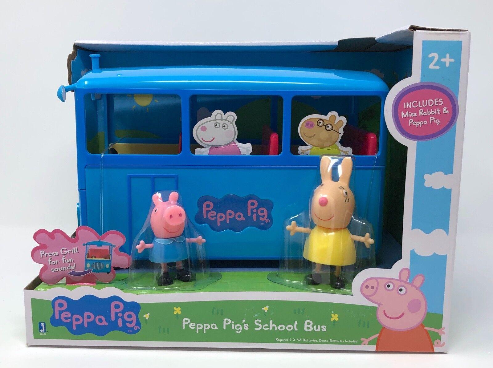 Jazzwares Peppa Pig SCHOOL buss spelset Miss Rabbit figur 3 bitar låter som en gåva