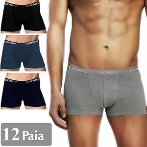 Stock-12-paia-BOXER-Uomo-Pack-Mutande-in-Cotone-Elasticizzato-Nero-Grigio-Blu