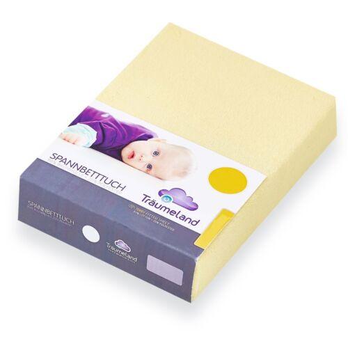 Träumeland Spannbetttuch für Laufgittermatratzen Jersey gelb 100x100 2er Pack