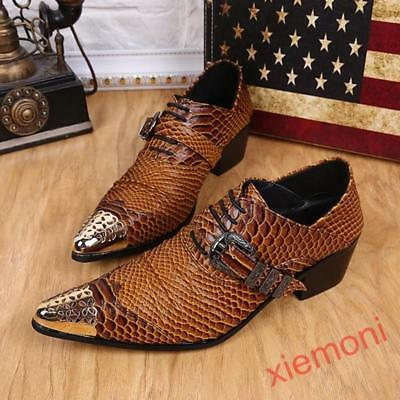 Men/'s pointed toe snake embossed synthetic leather lace up high heels oxfords
