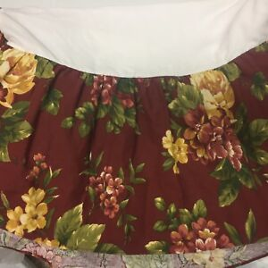 Waverly Garden Room Floral Manor Full Sz Bed Skirt Crimson