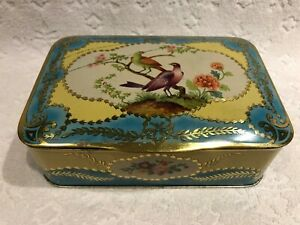 Vintage-PEEK-FREAN-amp-Co-Cookie-Biscuits-Tin-w-Hinged-Lid-Colourful-Graphics