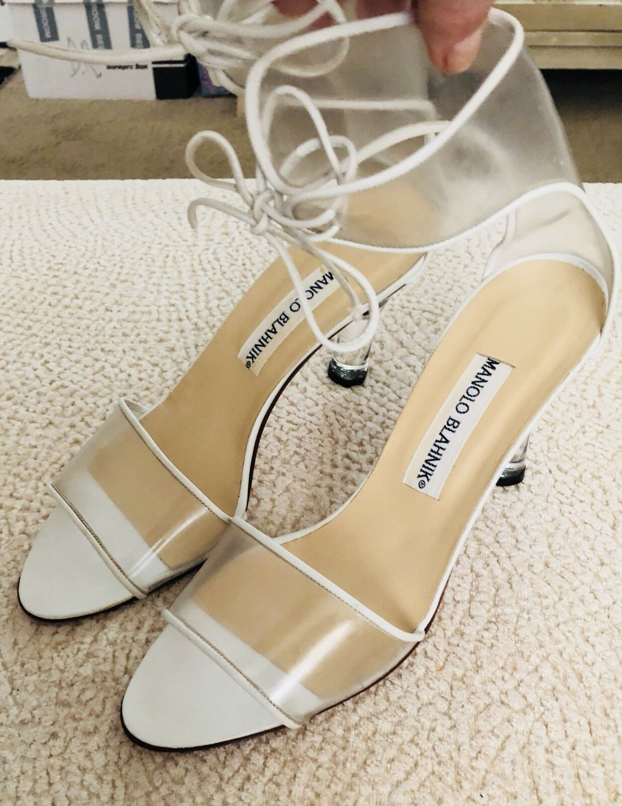 Manolo Blahnik Clear Lucite with White Trim  Lace Up Sandals with Heel
