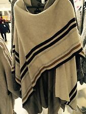 ZARA Knit Wool Beige Cream Striped Poncho Shawl Scarf Cape M One Size
