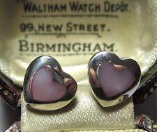 Vintage SOLID Sterling 925 SILVER PINK Mother of Pearl MOP Heart Stud EARRINGS