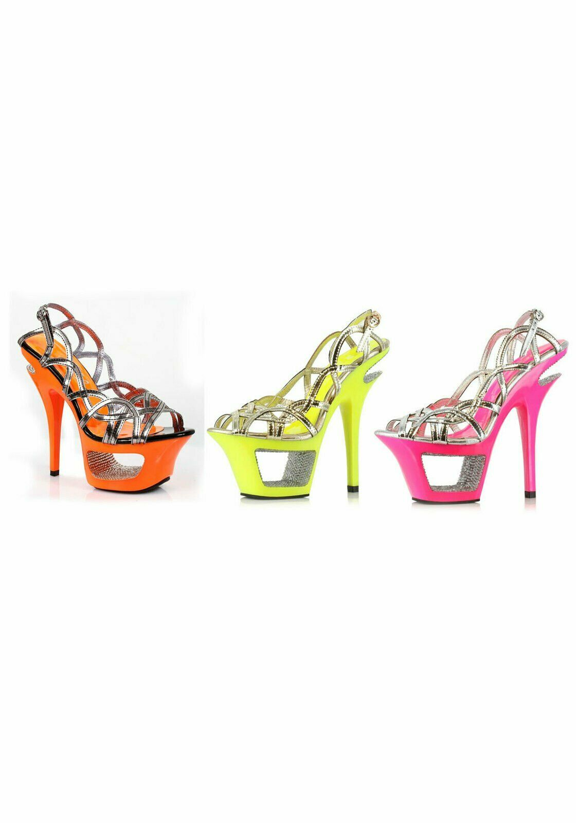 Ellie scarpe 604-ISLA 6 Inch Neon Cut Out Heel With Rhinestone