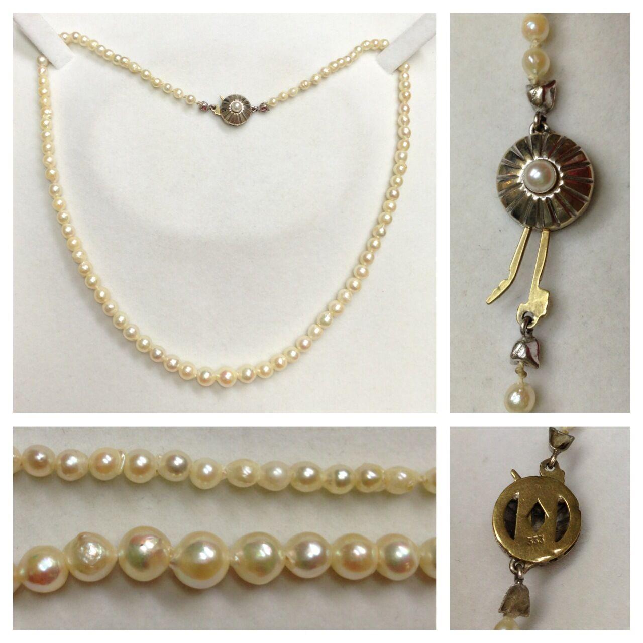 Akoyaperlen Collier Kette 333er goldverschluß whitegold Perlenkette 45,0 cm