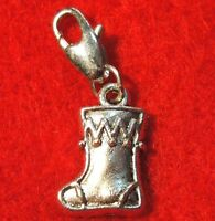 11pcs. Tibetan Silver Christmas Santa Stocking Boot Charms W/lobster Clasps Ch13