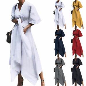 Plus-Size-Women-Ladies-Irregular-Swing-Maxi-Dress-Evening-Party-Casual-Dresses