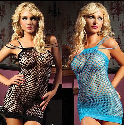 Fishnet Women Sexy Lingerie Babydoll Sheer Sleepwear Nightwear Dress US Seller