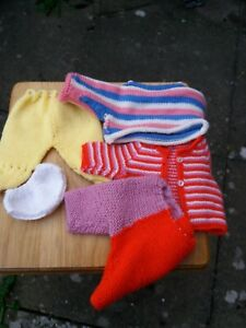 HonnêTeté Handknitted Poupées Vêtements Cardigan Pantalon Fait Main-afficher Le Titre D'origine