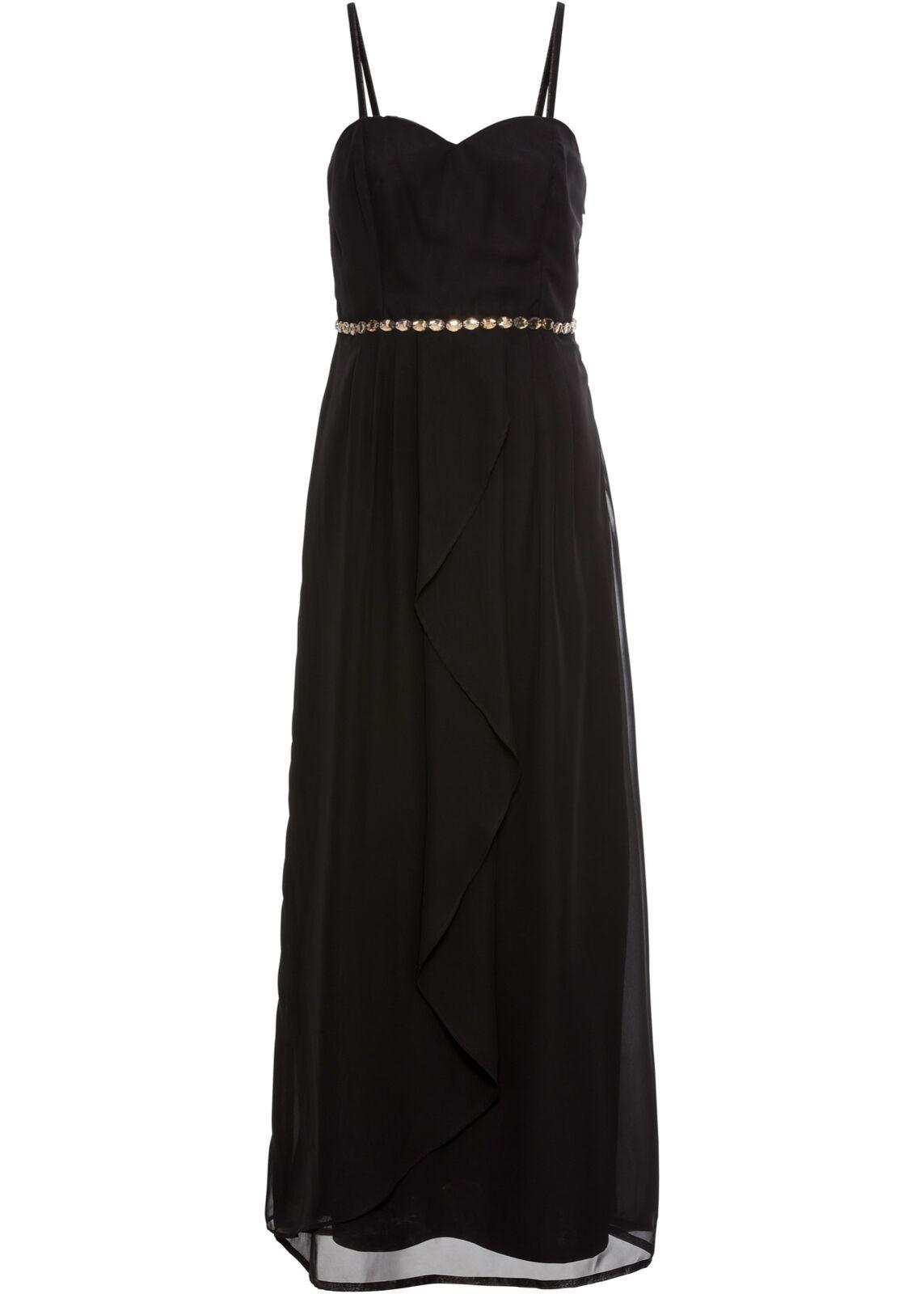 Kleid Gr. 38 Schwarz Damen Partykleid Maxi-Dress Abendkleid Cocktailkleid Neu