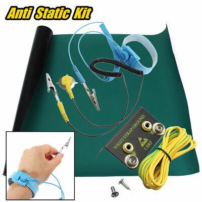 "Cord Wrist Strap Ground Green Desktop Anti Static ESD Grounding Mat 16x16/"""