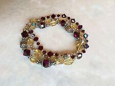 Sterling Silver Citrine, Deep Ruby Red Swarovski crystal bracelet set of 3, NWOT