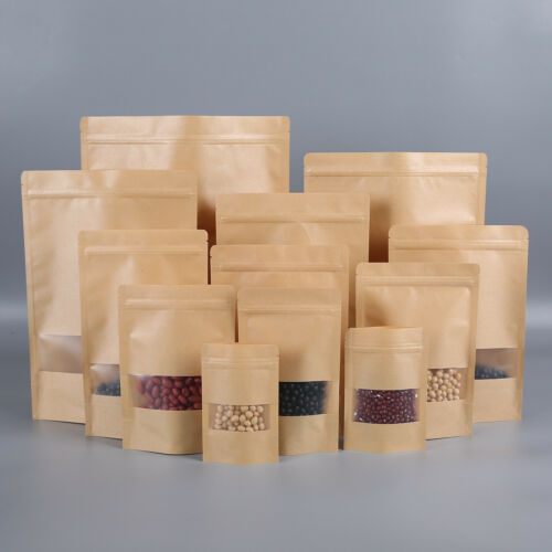 White Kraft Paper Pouches Stand Up Food Bag With Clear Window Brown